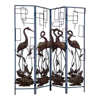 Brutalist Studio Steel Tropical Abstract Four Panels Screen For Sale