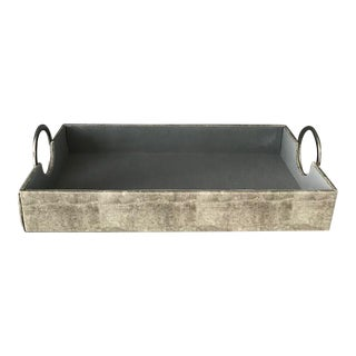 Leather Tray With Silver Handles