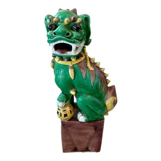 Asian/Chinoiserie Green & Yellow Ceramic Foo Dog Statue For Sale
