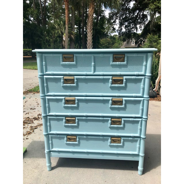 "Absolutely gorgeous light blue five drawer Stanley chest of drawers. The color is Benjamin Moore "" Old Pickup Blue"" so you..."