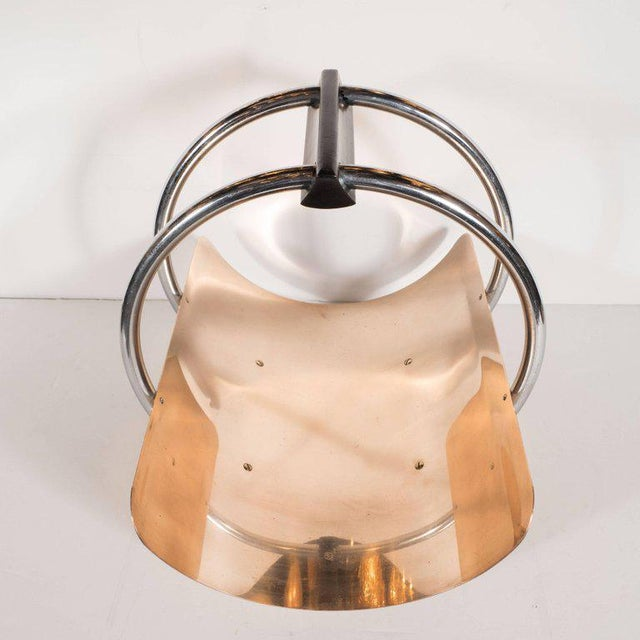 American Art Deco Machine Age Log Holder in Chrome and Copper by Leslie Beaton For Sale - Image 5 of 11