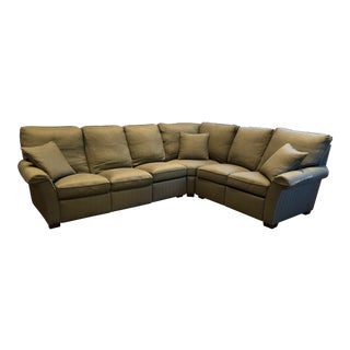 Stickley and Audi 3 Piece Green Reclining Sectional Sofa For Sale