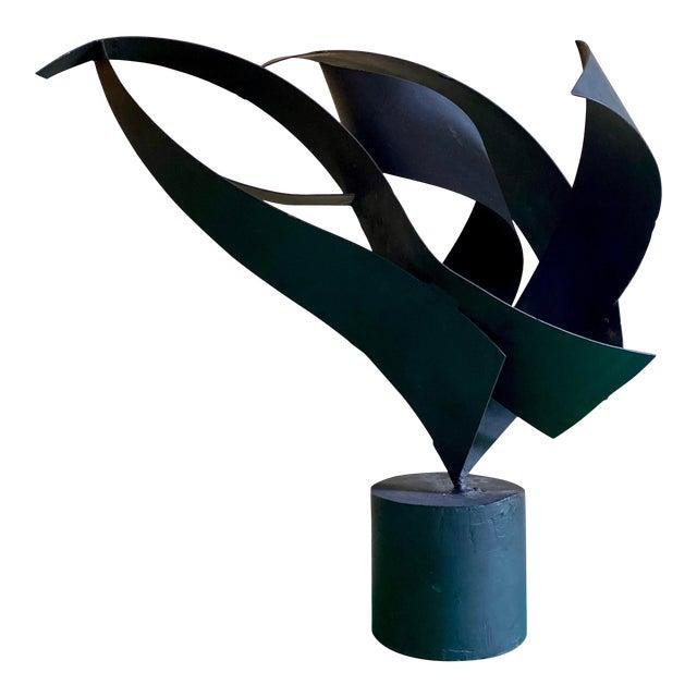 Vintage Abstract Black Metal Sculpture For Sale