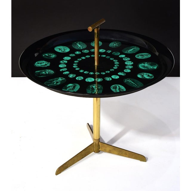 Fornasetti Piero Fornasetti Rare Tripod and Brass Serving Table, 1950s For Sale - Image 4 of 10