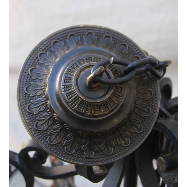1980s Hand Wrought Spanish Style Iron Lantern For Sale - Image 5 of 6