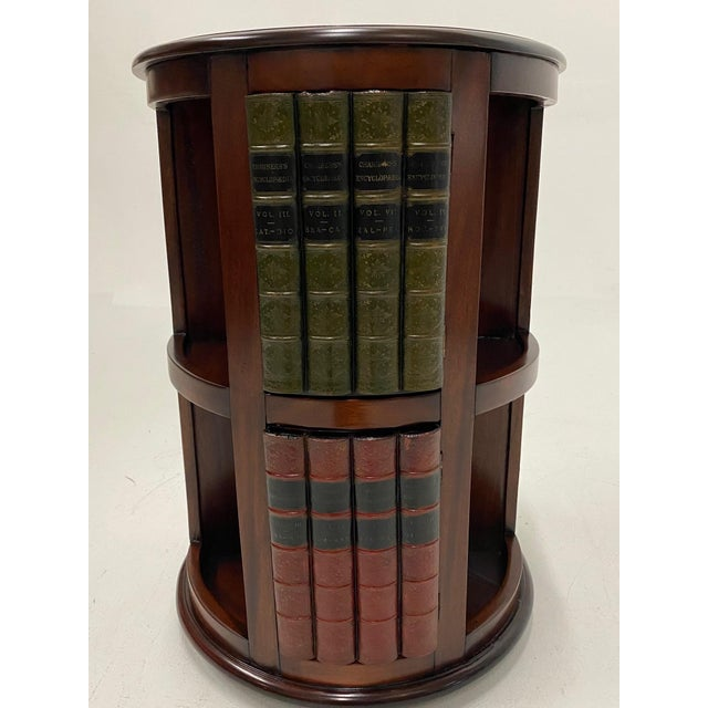 English Mahogany and Leather Revolving Book Motife Cabinet For Sale - Image 3 of 9