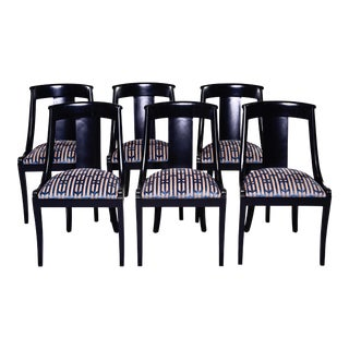 French Early 20th C Gondola Dining Chairs With New Upholstery - Set of Six For Sale