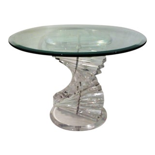 Vintage Mid-Century Modern Acrylic / Lucite With Thick Glass Top, Spiral Helix Dna Coffee Table For Sale