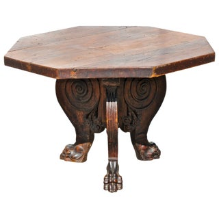Italian Baroque Renaissance Walnut Center Table For Sale