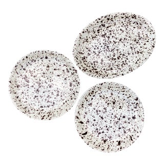 Vintage Splatter Paint Ceramic Platter and Plates-Set of 3 For Sale