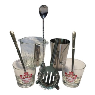 Vintage Smirnoff Cocktail Set And Crystal Ice Bucket For Sale