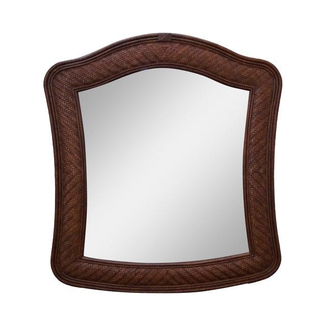 Lexington Tommy Bahama Rattan Frame Beveled Mirror For Sale