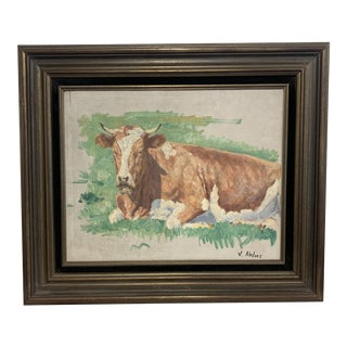 Vintage Cow Painting For Sale