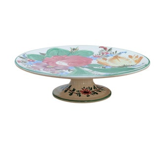 Italian Floral Ceramic Cake Stand For Sale