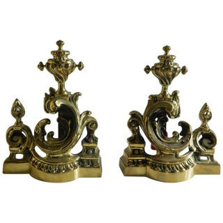 Pair of Polished Brass Chenets or Andirons, Scroll Motif, 19th Century For Sale