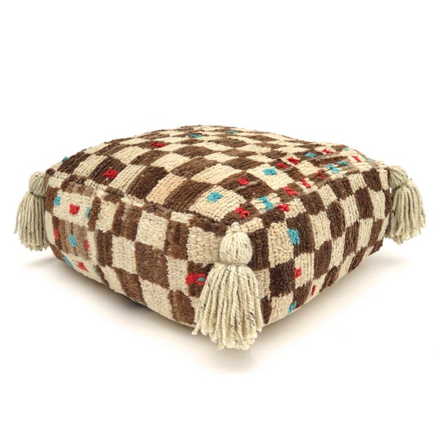 Textile Vintage Mid Century Checkered Berber Pouf For Sale - Image 7 of 11