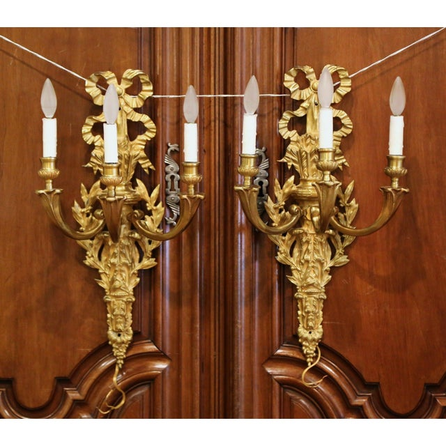 Mid-19th Century French Louis XVI Bronze Dore Three-Light Wall Sconces - a Pair For Sale - Image 10 of 10