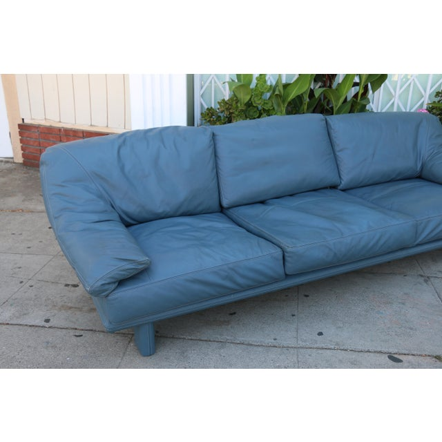 Modern leather teal sofa chairish for Teal leather couch