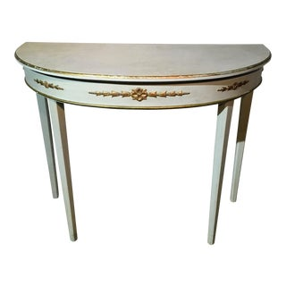 Painted Demilune Accent Table For Sale