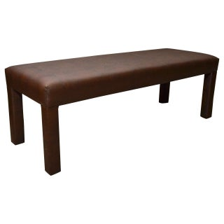 Brown Faux Snakeskin Parsons Bench