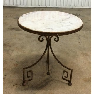 1920s Hollywood Regency Wrought Iron Side Table With White Marble Top Preview