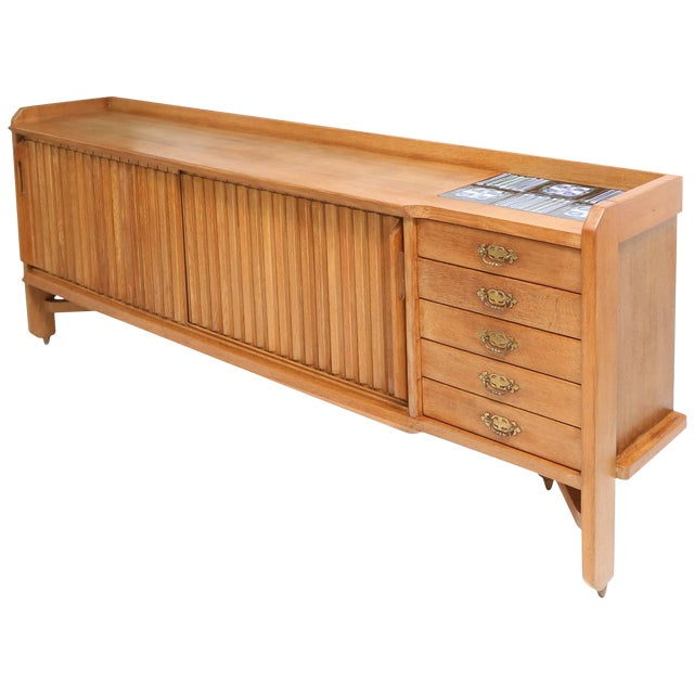 Natural Oak Credenza by Guillaume et Chambron For Sale