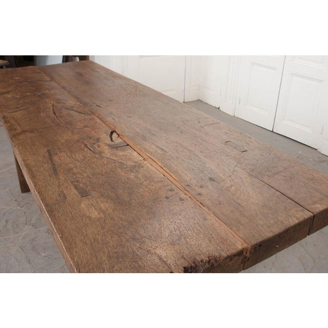 French 19th Century Oak Farmhouse Trestle Table For Sale In Baton Rouge - Image 6 of 11