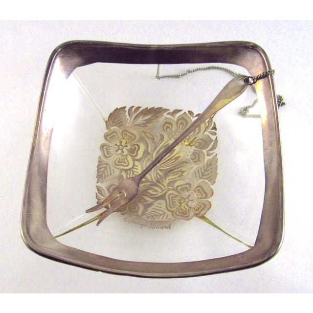 1960s Georges Briard Silver Enamel Lemon Bowl With Attached Silver Plate Fork For Sale In Los Angeles - Image 6 of 11