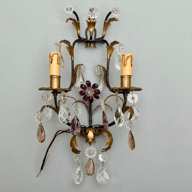 Italian Two-Light Tole & Crystal Sconces - A Pair - Image 2 of 9
