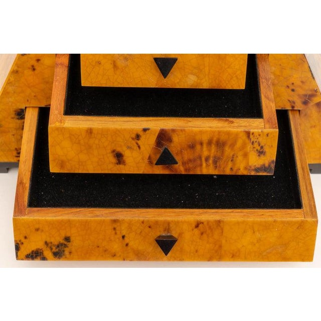 1980s Maitland Smith Pyramid Form Jewelry Box For Sale - Image 5 of 13