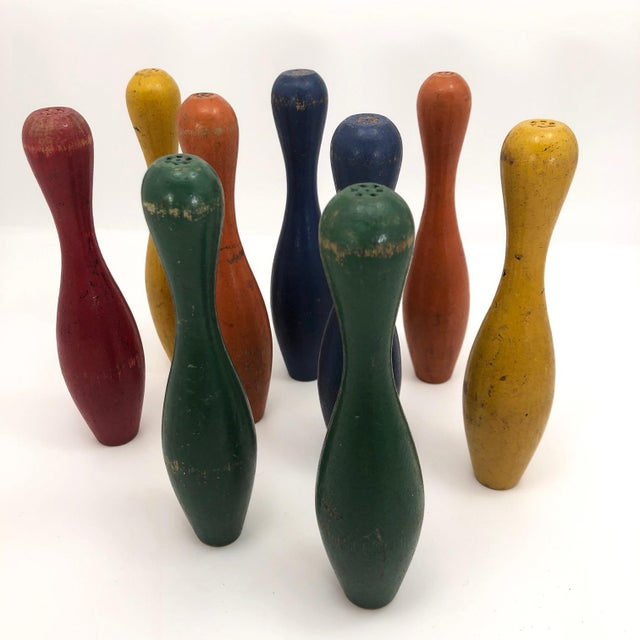 Early 20th Century Vintage Painted Wooden Toy Bowling Pins - Set of 9 For Sale - Image 10 of 11