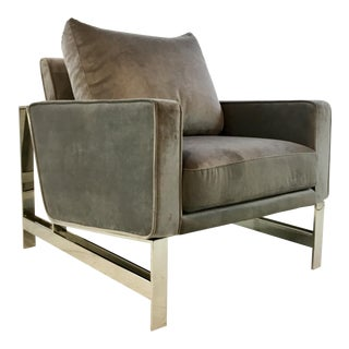 Worlds Away Modern Gray Velvet and Nickel Toby Lounge Chair For Sale