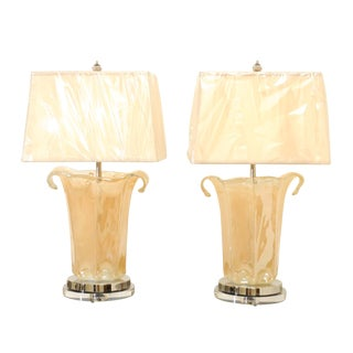 Knockout Pair of Large-Scale Blown Murano Vases as Custom Lamps For Sale