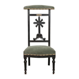 French 19th Century Upholstered and Ebonized Prie Dieu For Sale