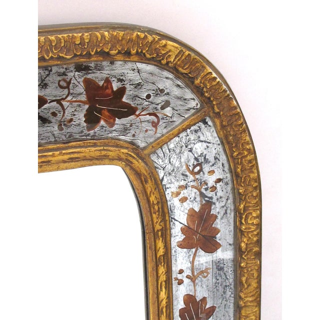Wood French Maison Jansen 1940's Eglomise Console Table and Mirror For Sale - Image 7 of 12
