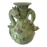 Image of Vintage Chinese Ceramic Crackle Jade Green Dragon Handle Vase For Sale