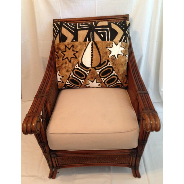 African Vintage Padma Plantation Accent Chair & Ottoman For Sale - Image 3 of 11