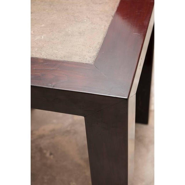 Arts & Crafts Concrete Insert Ebonized Wood Side Tables - a Pair For Sale - Image 3 of 4