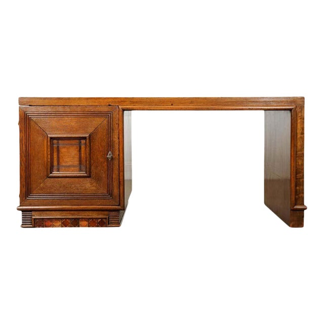 French 20th Century Oak Art Deco Parson Desk For Sale