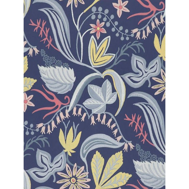 Transitional Scalamandre Saro, Dark Blue Wallpaper For Sale - Image 3 of 3
