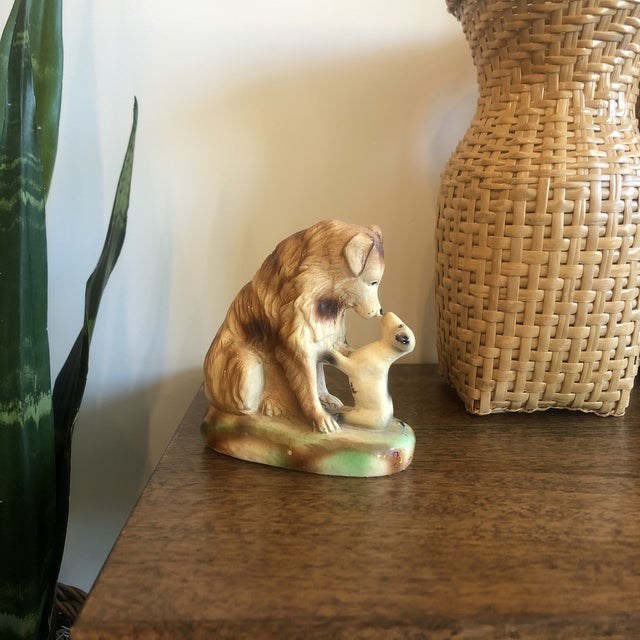 1950s Vintage Ceramic Dog and Puppy For Sale - Image 5 of 6