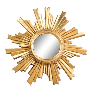 Mid Century French Giltwood Convex Sunburst Mirror For Sale