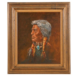 Original Oil Painting of a Man in Native American Attire by American Artist Tom J. Dooley For Sale
