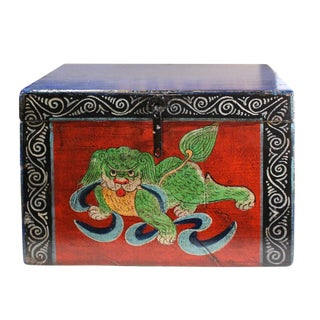 Chinese Vintage Red & BlueFoo Dog Lion Theme Trunk Box Chest For Sale