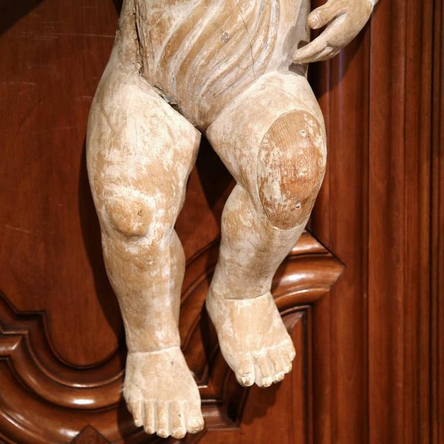 Mid-18th Century Italian Hand-Carved White Wash Cherubs - A Pair For Sale - Image 5 of 10