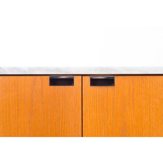 Wood Florence Knoll White Oak Credenza With Carrara Marble Top For Sale - Image 7 of 11