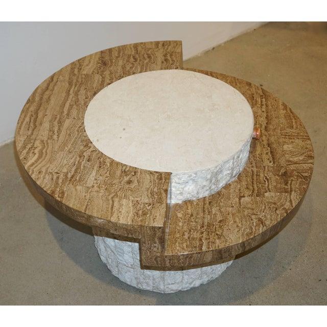 1970s 1970s Marzio Cecchi Italian Vintage White and Ochre Stone Round Side/Sofa Table For Sale - Image 5 of 12