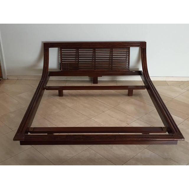 Mid Century Wicker Low Platform Bed by Maugrion Made in France for Roche Bobois For Sale - Image 10 of 10
