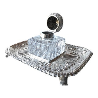 1889 London Charles Engelhard Sterling Silver & Crystal Inkwell Inkstand For Sale