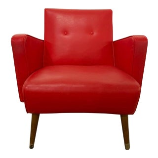 1950s Red Vinyl Club Chair For Sale